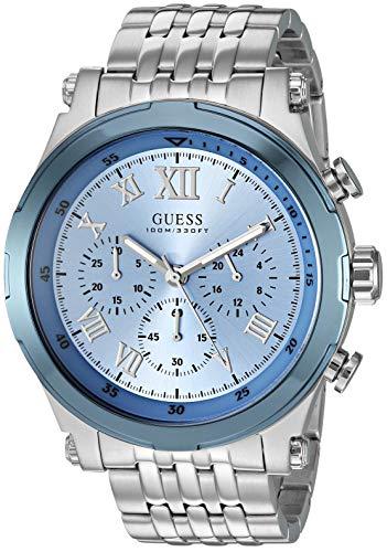 ゲス GUESS 腕時計 メンズ 【送料無料】GUESS Stainless Steel Sky Blue Chronogaph Bracelet Watch. Color: Silver-Tone/Sky Blue (U1104G4)ゲス GUESS 腕時計 メンズ