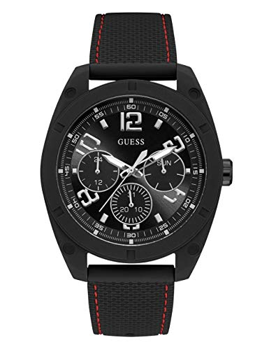 ゲス GUESS 腕時計 メンズ GUESS Men's Stainless Steel Japanese Quartz Watch with Silicone Strap, Black, 19.3 (Model: U1256G1)ゲス GUESS 腕時計 メンズ