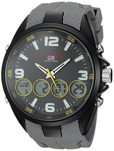ユーエスポロアッスン 腕時計 メンズ U.S. Polo Assn. Men's Analog-Quartz Watch with Rubber Strap, Grey, 27 (Model: US9597)ユーエスポロアッスン 腕時計 メンズ