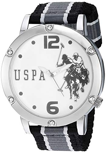 ユーエスポロアッスン 腕時計 レディース 【送料無料】U.S. Polo Assn. Men's Silver Tone Metal Analog Quartz Watch with Nylon Strap, Grey, 24 (Model: USC57004)ユーエスポロアッスン 腕時計 レディース