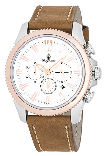 ブルゲルマイスター ドイツ高級腕時計 メンズ 【送料無料】Burgmeister Men's Stainless Steel Quartz Watch with Leather Calfskin Strap, Brown, 23 (Model: BMT03-985)ブルゲルマイスター ドイツ高級腕時計 メンズ