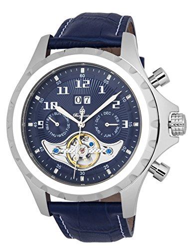 """ブルゲルマイスター ドイツ高級腕時計 メンズ 【送料無料】Burgmeister Men""""s Stainless Steel Automatic-self-Wind Watch with Leather Calfskin Strap, Blue, 22 (Model: BM346-133)ブルゲルマイスター ドイツ高級腕時計 メンズ"""