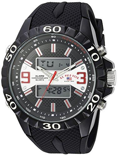 ユーエスポロアッスン 腕時計 メンズ U.S. Polo Assn. Men's Analog-Quartz Watch with Rubber Strap, Black, 25 (Model: US9599)ユーエスポロアッスン 腕時計 メンズ