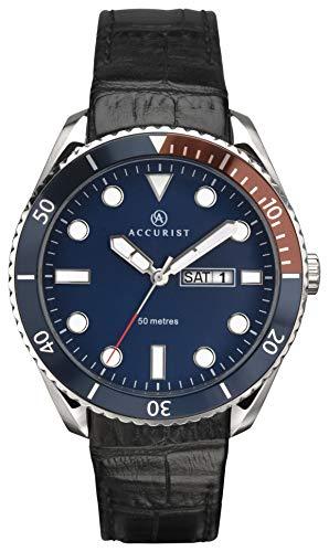 アキュリスト 腕時計 メンズ イギリス ロンドン 【送料無料】Accurist Mens Analogue Quartz Watch with Blue Dial and Black Leather Strap 7225アキュリスト 腕時計 メンズ イギリス ロンドン
