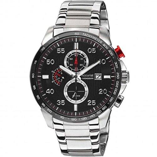 アキュリスト 腕時計 メンズ イギリス ロンドン Accurist Mens Stainless Steel Bracelet Black Dial Chronograph Watch MB1028Rアキュリスト 腕時計 メンズ イギリス ロンドン