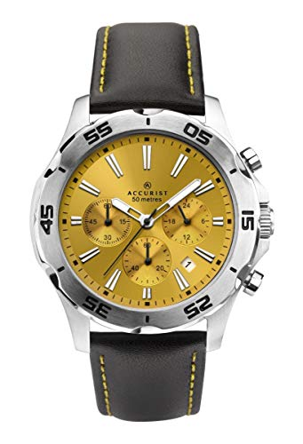 アキュリスト 腕時計 メンズ イギリス ロンドン Accurist Gents Yellow Dial Analogue Chronograph Watch with Black Leather Strap 7256アキュリスト 腕時計 メンズ イギリス ロンドン