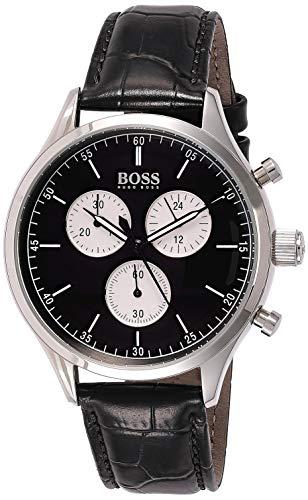 ヒューゴボス 高級腕時計 メンズ Hugo Boss Companion Black Dial Leather Strap Men's Watch 1513543ヒューゴボス 高級腕時計 メンズ