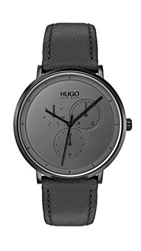 ヒューゴボス 高級腕時計 メンズ 【送料無料】Hugo Men's #Guide - Ultra Slim Quartz Black IP and Leather Strap Casual Watch, Grey, 1530009ヒューゴボス 高級腕時計 メンズ