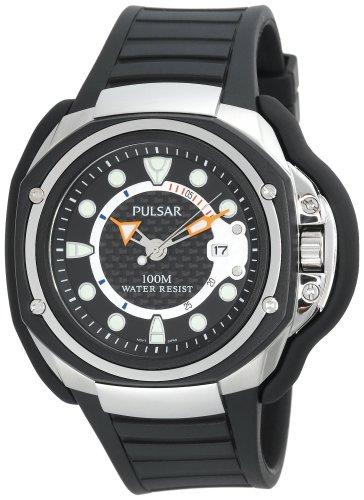 パルサー SEIKO セイコー 腕時計 メンズ Pulsar Men's PXH711 Tech Gear Black Urethane Black Dial with Black Carbon Fiber Watchパルサー SEIKO セイコー 腕時計 メンズ