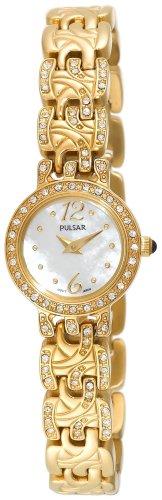 パルサー SEIKO セイコー 腕時計 レディース Pulsar Women's PEGE32 Swarovski Crystal Jeweled Gold-Tone Mother Of Pearl Dial Watchパルサー SEIKO セイコー 腕時計 レディース