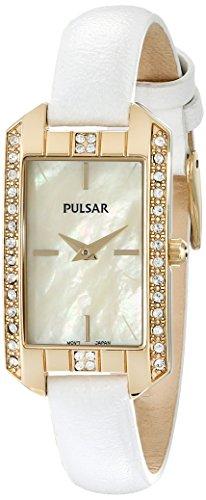 パルサー SEIKO セイコー 腕時計 レディース 【送料無料】Pulsar Women's PRW010 Gold-Tone Swarovski Crystal Watch With Leather Bandパルサー SEIKO セイコー 腕時計 レディース