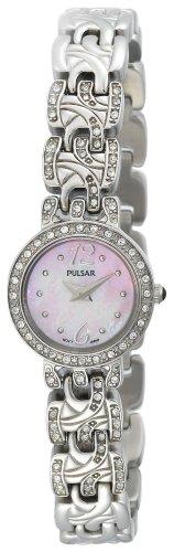 パルサー SEIKO セイコー 腕時計 レディース 【送料無料】Pulsar Women's PEGE31 Swarovski Crystal Jeweled Stainless Steel Pink Dial Watchパルサー SEIKO セイコー 腕時計 レディース