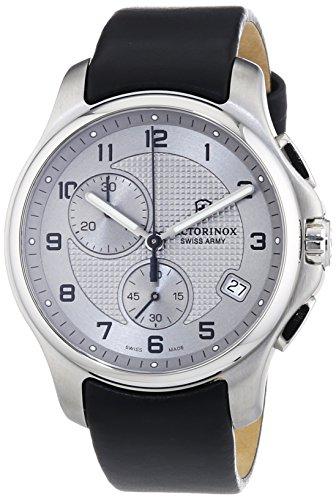 ビクトリノックス スイス 腕時計 メンズ 【送料無料】Victorinox Swiss Army Silver Dial SS Leather Chrono Quartz Men's Watch 241553ビクトリノックス スイス 腕時計 メンズ