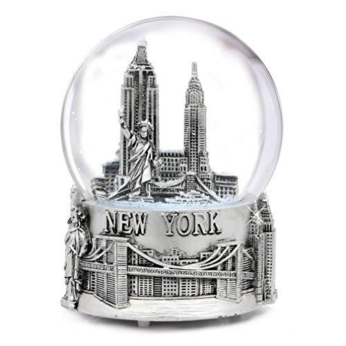 スノーグローブ 雪 置物 インテリア 海外モデル 【送料無料】Musical Silver New York City Snow Globe with Sculpture Base, 6 Inchスノーグローブ 雪 置物 インテリア 海外モデル