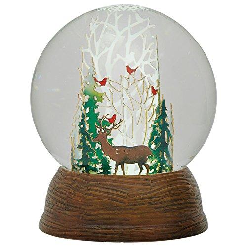 スノーグローブ 雪 置物 インテリア 海外モデル Roman LED Papercut Winter Deer and Cardinals in Forest Snow Globe Dome, 5.5