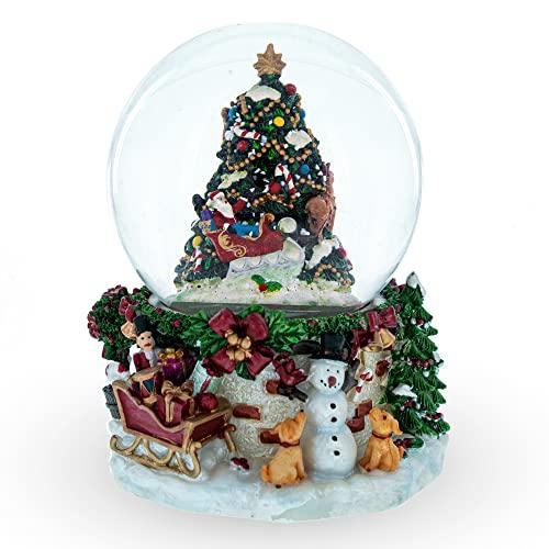 スノーグローブ 雪 置物 インテリア 海外モデル 【送料無料】BestPysanky Snowman & Dogs Watching Santa Musical Snow Globeスノーグローブ 雪 置物 インテリア 海外モデル