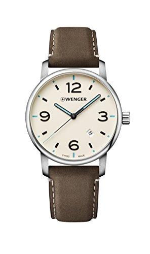 ウェンガー スイス メンズ 腕時計 Wenger Men's Classic Stainless Steel Swiss-Quartz Watch with Leather Strap, Brown, 22 (Model: 01.1741.118)ウェンガー スイス メンズ 腕時計