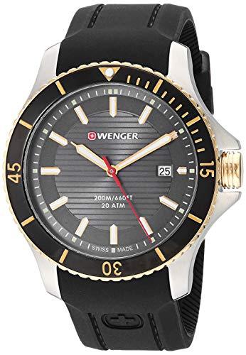 腕時計 ウェンガー スイス メンズ 腕時計 【送料無料】Wenger Men's Seaforce Stainless Steel Swiss-Quartz Silicone Strap, Black, 22 Casual Watch (Model: 01.0641.126)腕時計 ウェンガー スイス メンズ 腕時計
