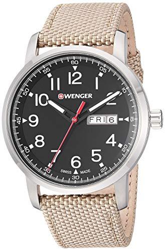 ウェンガー スイス メンズ 腕時計 【送料無料】Wenger Men's Attitude Stainless Steel Swiss-Quartz Nylon Strap, Beige, 21.5 Casual Watch (Model: 01.1541.111)ウェンガー スイス メンズ 腕時計