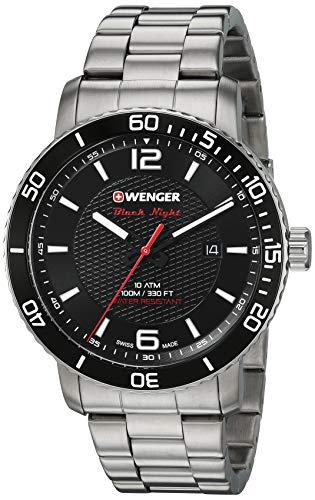 ウェンガー スイス アーミーナイフ メンズ 腕時計 Wenger Men's Roadster Black Night Swiss-Quartz Stainless-Steel Strap, Silver, 22 Casual Watch (Model: 01.1841.104)ウェンガー スイス アーミーナイフ メンズ 腕時計