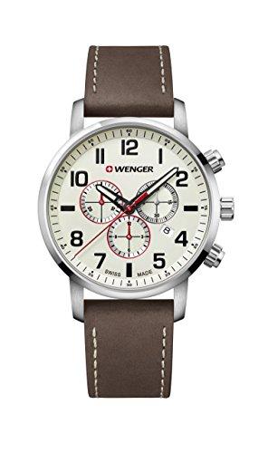 腕時計 ウェンガー スイス メンズ 腕時計 【送料無料】Wenger Men's Sport Stainless Steel Swiss-Quartz Watch with Leather Strap, Brown, 22 (Model: 01.1543.105)腕時計 ウェンガー スイス メンズ 腕時計