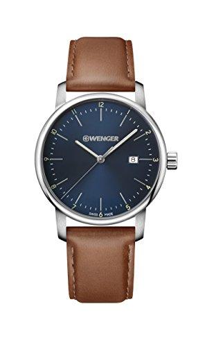 ウェンガー スイス アーミーナイフ メンズ 腕時計 Wenger Men's Urban Classic Stainless Steel Quartz Watch with Leather Calfskin Strap, Brown, 22 (Model: 01.1741.111)ウェンガー スイス アーミーナイフ メンズ 腕時計