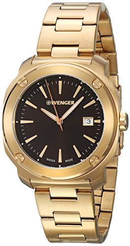 ウェンガー スイス メンズ 腕時計 【送料無料】Wenger Edge Index Quartz Movement Pink Gold Dial Men's Watch 01.1141.114ウェンガー スイス メンズ 腕時計