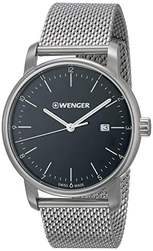 ウェンガー スイス メンズ 腕時計 【送料無料】Wenger Men's Urban Classic Quartz Watch with Stainless-Steel Strap, Silver, 22 (Model: 01.1741.114)ウェンガー スイス メンズ 腕時計