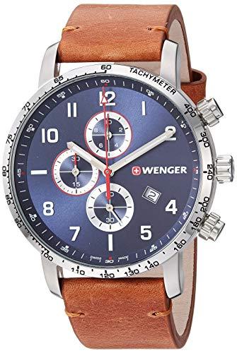 ウェンガー スイス メンズ 腕時計 【送料無料】Wenger Men's Attitude Stainless Steel Swiss-Quartz Leather Strap, Brown, 21 Casual Watch (Model: 01.1543.108)ウェンガー スイス メンズ 腕時計