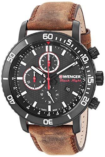 ウェンガー スイス メンズ 腕時計 【送料無料】Wenger Men's Roadster Black Night Stainless Steel Swiss-Quartz Leather Strap, Brown, 19.3 Casual Watch (Model: 01.1843.107)ウェンガー スイス メンズ 腕時計