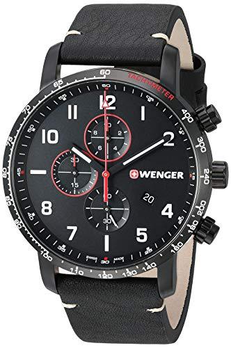 ウェンガー スイス メンズ 腕時計 【送料無料】Wenger Men's Attitude Stainless Steel Swiss-Quartz Leather Strap, Black, 22 Casual Watch (Model: 01.1543.106)ウェンガー スイス メンズ 腕時計