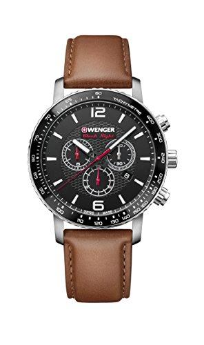 ウェンガー スイス メンズ 腕時計 【送料無料】Wenger Men's Sport Stainless Steel Swiss-Quartz Watch with Leather Strap, Brown, 22 (Model: 01.1843.104)ウェンガー スイス メンズ 腕時計