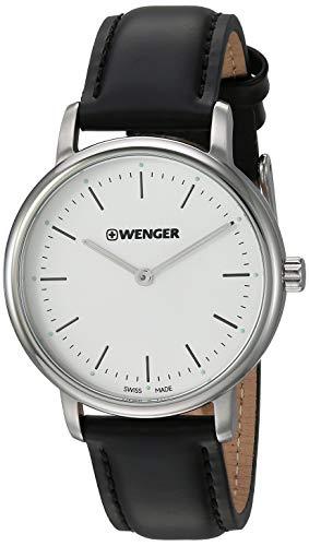 ウェンガー スイス アーミーナイフ メンズ 腕時計 Wenger Women's Urban Classic Stainless Steel Swiss-Quartz Leather Strap, Black, 16.8 Casual Watch (Model: 01.1721.110)ウェンガー スイス アーミーナイフ メンズ 腕時計
