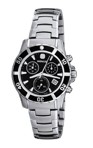 ウェンガー スイス アーミーナイフ メンズ 腕時計 Wenger Women's 70746 Sport Elegance Chrono Black Dial Steel Bracelet Watchウェンガー スイス アーミーナイフ メンズ 腕時計