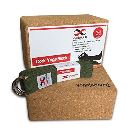 ヨガブロック フィットネス Cork Yoga Blocks 2 Pack and Yoga Strap Set with Box, Set, Yoga, Pilates, Deepen Poses, Improve Flexibility and Strength, Quality - Cork Yoga Blocks 2 Pack and Strap (Army Green) Setヨガブロック フィットネス