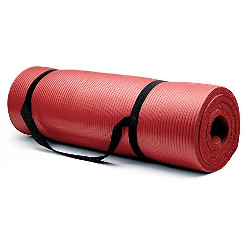 ヨガマット フィットネス SYOG-004 【送料無料】Crown Sporting Goods 5/8-Inch Extra Thick Yoga Mat with No Stick Ridge, Redヨガマット フィットネス SYOG-004