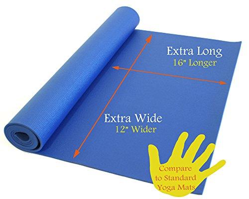 ヨガマット フィットネス Rolling Sands 84 Inch by 36 Inch Extra Wide, Extra Long, Extra Thick Blue Yoga Pilates Matヨガマット フィットネス