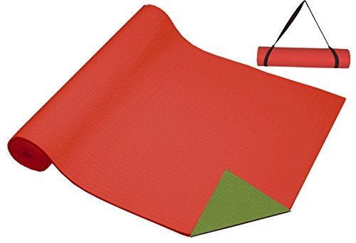 ヨガマット フィットネス 【送料無料】DA VINCI 2-Tone Green & Watermelon Red Yoga Mat with Carry Strapヨガマット フィットネス