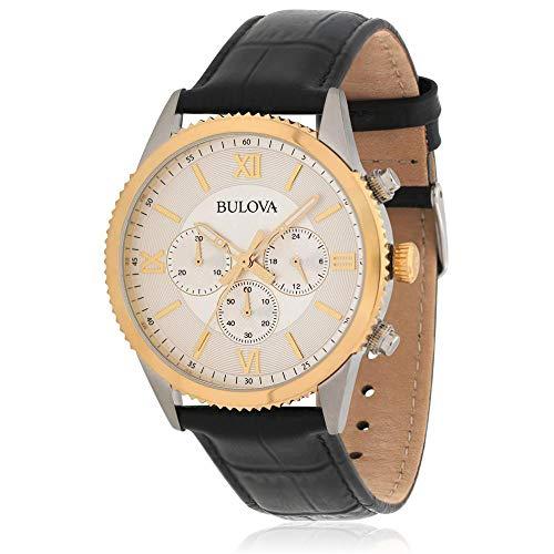 ブローバ 腕時計 メンズ 【送料無料】Bulova 98A218 Two Tone White Chrono Dial Black Leather Band Classic Mens Watchブローバ 腕時計 メンズ