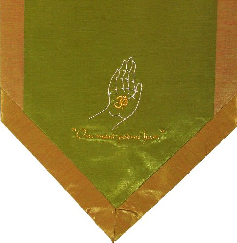 ヨガ フィットネス new 【送料無料】Boon Decor Altar Cloth Or Wall Hangings - Embroidered - Om Blessing Buddha's Hand - Green/Goldヨガ フィットネス new