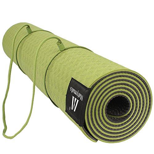 ヨガマット フィットネス Matymats Non Slip TPE Yoga Mat with Carry Strap for Pilate Gymnastics Bikram Meditation Towel- High Density Thick 1/4'' Durable Mat 72