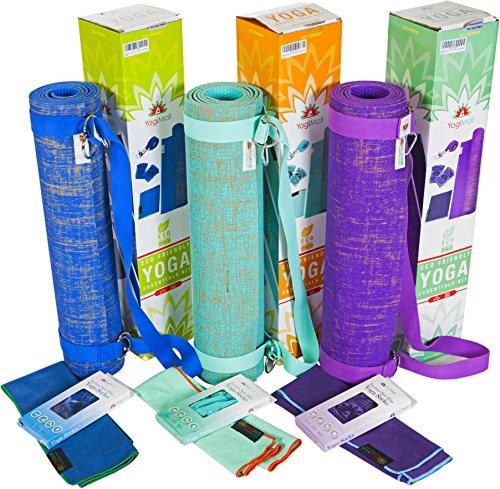 ヨガマット フィットネス YogiMall Natural Jute Yoga Mat Kit - Includes Non-Slip Yoga Socks, Cotton Strap & Hand Towel - Eco Friendly, Reversible, Non-Toxic and SGS Certified ? Most Versatile, Beautiful and Odorless Yoga Setヨガマット フィットネス