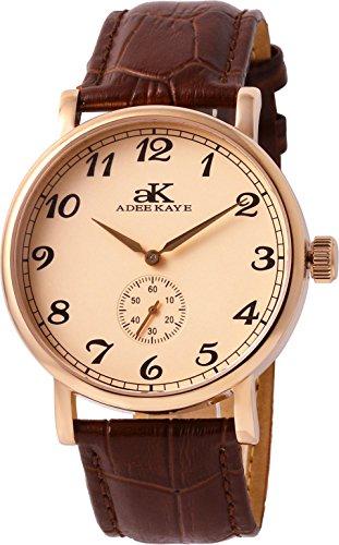 アディーケイ 腕時計 メンズ アメリカ LA AdeeKaye AK9061 Men's 20 Jewel Mechanical Stainless Steel & Leather Watch-Rose Tone/Salmon Dialアディーケイ 腕時計 メンズ アメリカ LA