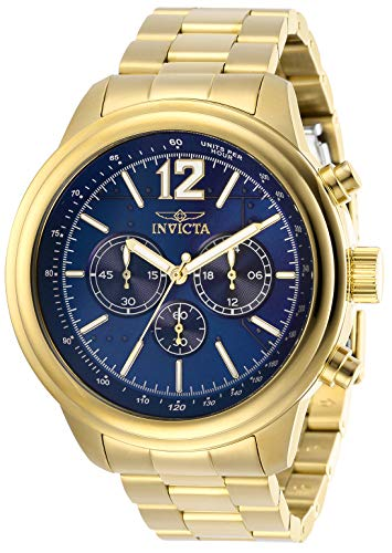 インヴィクタ インビクタ 腕時計 メンズ Invicta Men's Aviator Quartz Watch with Stainless Steel Strap, Gold, 22 (Model: 28896)インヴィクタ インビクタ 腕時計 メンズ