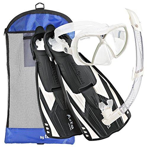 シュノーケリング マリンスポーツ 109900 Aqua Lung Sport Flexar Mask Fin Snorkel Set, Black White - XSシュノーケリング マリンスポーツ 109900