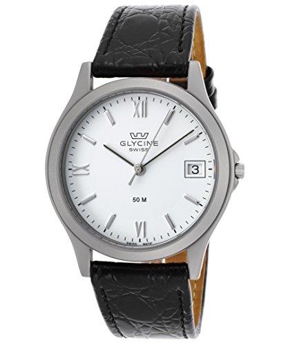 グリシン スイスウォッチ 腕時計 メンズ グライシン Glycine 3690-11Rp-Sb-Lbk9 Men's Black Genuine Leather White Dial Watchグリシン スイスウォッチ 腕時計 メンズ グライシン