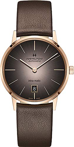 腕時計 ハミルトン メンズ 【送料無料】Hamilton H38465501 Intra-Matic Auto Men's Watch Brown Leather/Rose Gold腕時計 ハミルトン メンズ