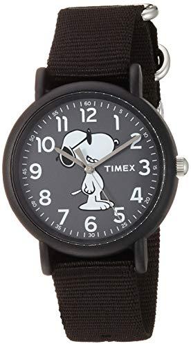 タイメックス 腕時計 レディース 【送料無料】Timex Unisex TW2T65700 Weekender Peanuts Joe Cool Black Fabric Slip-Thru Strap Watchタイメックス 腕時計 レディース
