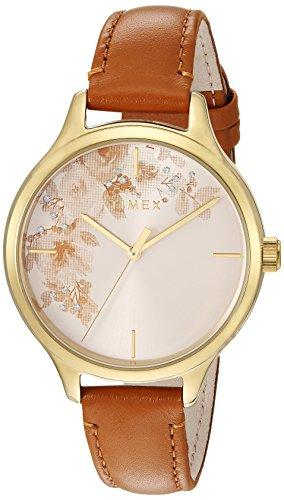 腕時計 タイメックス レディース 【送料無料】Timex Women's TW2R66900 Crystal Bloom Tan/Gold Floral Accent Leather Strap Watch腕時計 タイメックス レディース
