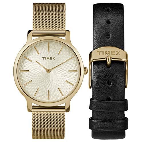 タイメックス 腕時計 レディース 【送料無料】Timex Women's TWG019400 Metropolitan 34mm Gold-Tone Stainless Steel Mesh Bracelet Watch Gift Set + Black Leather Strapタイメックス 腕時計 レディース